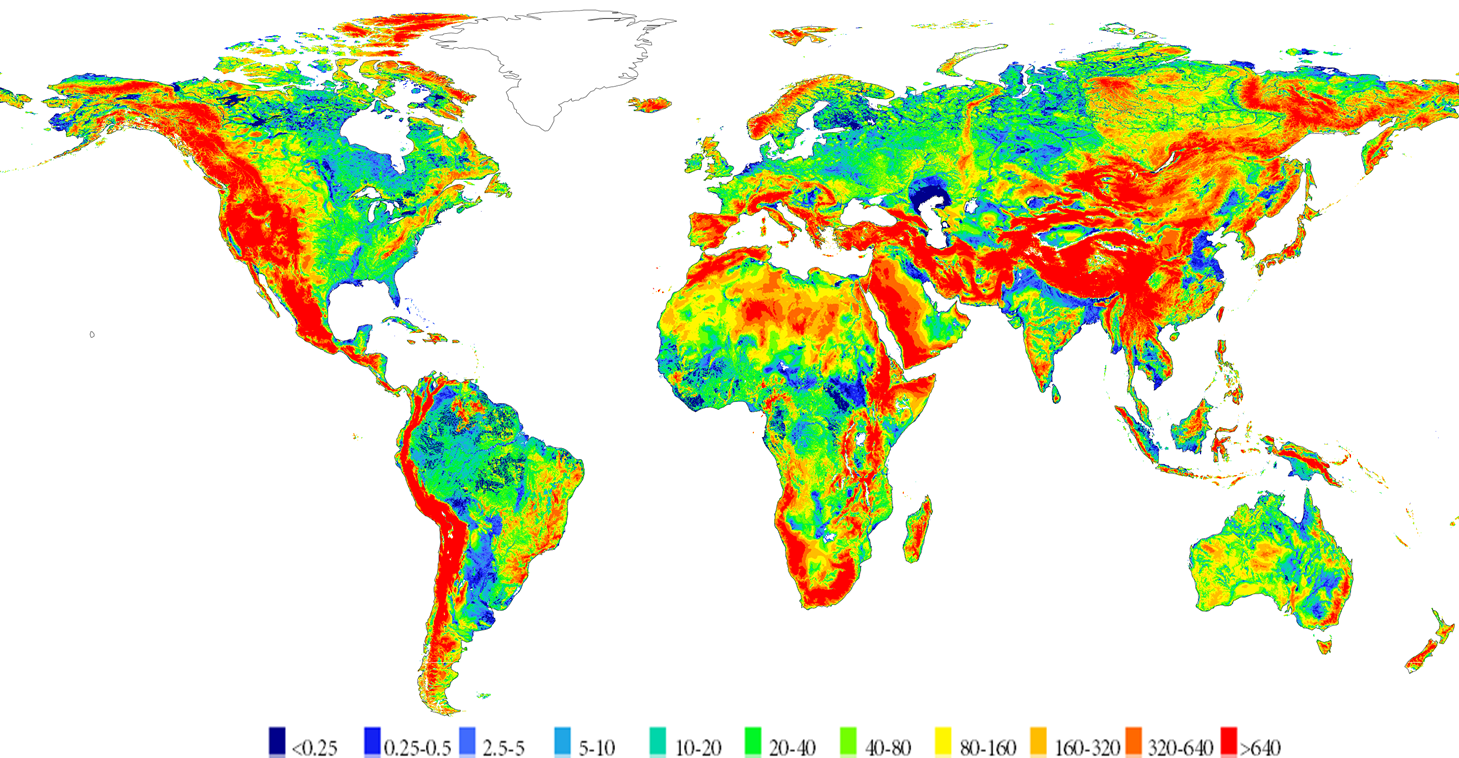 Long-term average groundwater depth (m below surface)